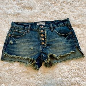 Free People button fly runaway cutoff shorts